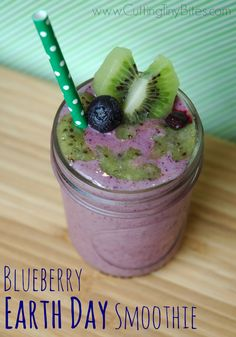 Healthy snack for kids for Earth Day. Blueberry and kiwi make ocean and land!
