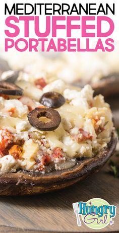 mushroom recipes Mediterranean Stuffed Portabellas + More Healthy Stuffed Mushroom Recipes Ww Recipes, Vegetarian Recipes, Cooking Recipes, Recipies, Burger Recipes, What's Cooking, Healthy Recipes, Mushroom Recipes, Vegetable Recipes