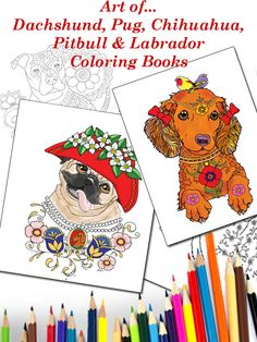 Combo-4 Coloring Book Art, Adult Coloring, Yorkie, Chihuahua, Yorkshire Terrier, Dachshund, Pugs, Labrador, How To Draw Hands