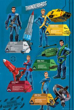 Thunderbirds are Go Profiles - Official Poster. Official Merchandise. Size: 61cm x 91.5cm. FREE SHIPPING