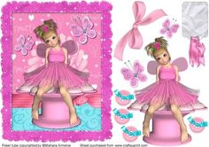 Pink Natu1 on Craftsuprint designed by Mishara Armenia - A very cute little pink pixie girl, good for birthday cards or valentine - Now available for download!