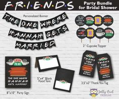 Get all these Friends TV Show birthday party printables in one printable party package bundle! This package includes Personalized Banner, Thank You Tags, Cupcake Toppers, Food Label, and Welcome Sign. 30th Birthday Parties, Happy Birthday Banners, Birthday Party Themes, Birthday Ideas, Friends Tv Show, Audemars Piguet, Friends Themed Wedding, Thank You Party, Bridal Shower Games