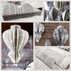 Christbaumschmuck: Origamihängerchen aus alten Buchseiten