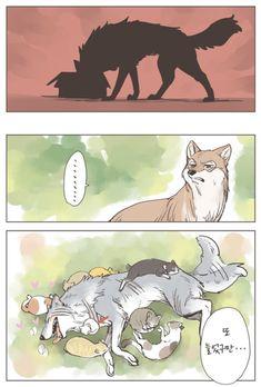 Wolf Comics, Anime Comics, Funny Animal Memes, Cute Funny Animals, Cute Comics, Funny Comics, Cute Drawings, Animal Drawings, Character Art