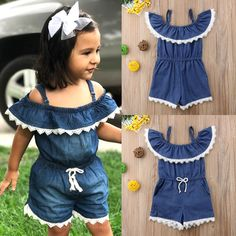 2018 Lace Denim Kid Baby Girl Off Shoulder Romper Jumpsuit Casual Outfit Clothes Frocks For Girls, Dresses Kids Girl, Kids Outfits, Baby Girl Dress Patterns, Baby Dress Design, Toddler Fashion, Kids Fashion, Denim And Lace, Baby Girl Romper