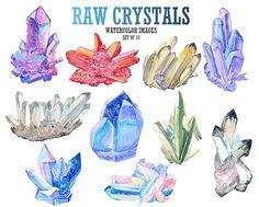 Raw crystal clip art Watercolor clipart Gemstone clip art Digital watercolor Stock image