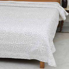 White with Black Needlework Cutwork Bedspread - 90x108in  #thehomeevolution #homeandgarden #decor #homedecor #dubaidesign #mydubai #homesweethome #decorativepillows #unitedarabemirates #new