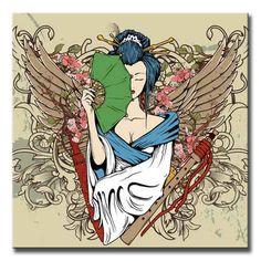 41706547 / Cuadro geisha con alas y abanico