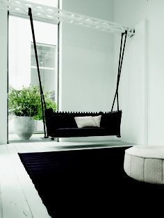 with a twist: A Unique Furniture Piece: Indoor Swing. Perfect idea for a front or back porch too