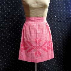 Vintage red and white cross stitched apron.