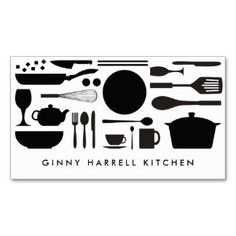 BLACK AND WHITE KITCHEN COLLAGE for Catering, Chef Double-Sided Standard Business Cards (Pack Of 100)