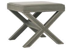 """pair in front of fireplace      21.5""""W x 21.5""""D x 19""""H  $199 sale ends 12.22  Palmer Ottoman, Granite"""
