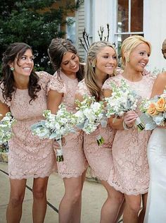 Sexy Sheath Crew Neck Mini Pink Bridesmaid Dress with Lace - Dresstells.com