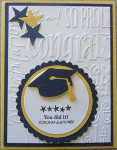 Graduation Card: A Cherry On Top Gallery: Stampin' Up Sprinkled Expressions, QuikCutz DoubleKutz Graduation Cap Die, Nestabilities Mats Die, Cuttlebug EF Congrats Words Graduation Cards Handmade, Graduation Diy, Greeting Cards Handmade, Embossed Cards, Congratulations Card, Stamping Up, Kids Cards, Cute Cards, Creative Cards