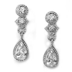 Bridal Jewelry, Cubic Zirconia Clip on Drop Earrings, Wedding Earrings 1163 USABride. $69.95. Cubic Zirconia Earrings are a beautiful accessory for any special occasion. Coordinate with any color wedding gown or formal ensemble. Measure approximately 1 3/4 inches in length