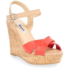 Dune London Kingdomm Patent Leather Wedge Sandals ($33) ❤ liked on Polyvore featuring shoes, sandals, heels, wedges, pink, patent leather shoes, pink shoes, heeled sandals, wedges shoes and pink sandals