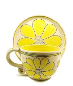 Buttercup Yellow Ceramic Cup and Plate - Dessert Luncheon Set - Two Piece Summer Garden Dinnerware - Stoneware Clay Pottery - Ships Today