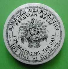 RARE PICTORIAL PERUVIAN BALM POT LID SAVAGES OF GUILDFORD