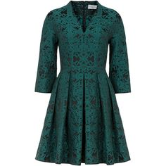 Arianna Cerrito  - Cocktail Dress Emerald Brocade ($1,000) ❤ liked on Polyvore featuring dresses, v neck dress, print cocktail dress, pattern dress, glamorous dresses and pleated dress