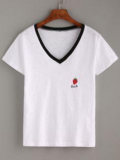 Camiseta escote V fresa bordada-(Sheinside)