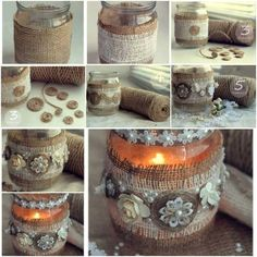 Use burlap and other embellishments to decorate plain candle jars