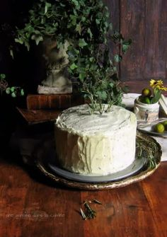Rosemary Citrus Cake with Mascarpone Honey Frosting | une gamine dans la cuisine