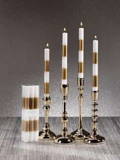 Modern & Festive Gold Formal Taper Candles - Set of 6