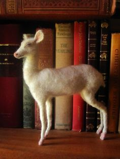 Needle felted white deer Christmas decoration custom by Ainigmati, $125.00