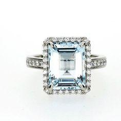 Emerald cut Aquamarine halo engagement ring, white gold, diamond engagement, light blue, custom, aquamarine halo ring, unique engagement - http://emerald-engagementring.com/emerald-cut-aquamarine-halo-engagement-ring-white-gold-diamond-engagement-light-blue-custom-aquamarine-halo-ring-unique-engagement/