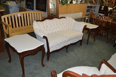 French Provincial Loveseat w/ marble and cherry end tables