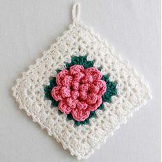 Maggie's Crochet · Popcorn Rose Potholder - Free Crochet Pattern