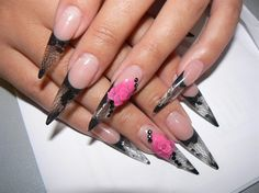 black french with rose by AdaBooth from Nail Art Gallery