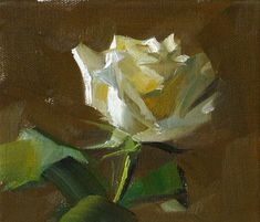 """Daily Paintworks - """"White Rose --- Sold"""" - Original Fine Art for Sale - © Qiang Huang"""