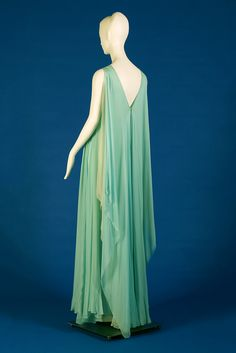 Dress of alternating layers of pale blue and green silk chiffon, Stavropoulos, Spring 1986, KSUM 1991.4.41 ab.