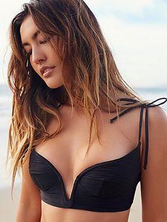 Monaco Bikini Top | Structured bikini top featuring statement boning detailing around the plunging neckline.  Adjustable ties and back s-hook closure.