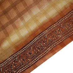 VINTAGE-INDIAN-SAREE-PURE-KHADI-SILK-PRINTED-FABRIC-DECOR-CRAFT-FLORAL-BROWN-5YD