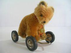 Hermann Teddy Original Bear Cart Wheels West Germany German #HermannOriginals