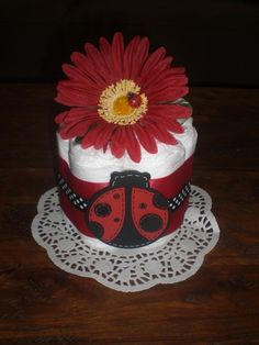 LadyBug Diaper Cake Baby Shower by bearbottomdiapercakes on Etsy, $9.99