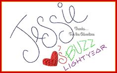 Jessie Loves Buzz Lightyear from Toy Story Autograph Digital Embroidery Machine Design File 4x4 5x7 6x10 by Thanks4TheAdventure on Etsy