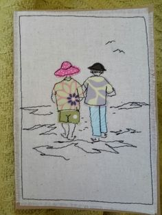 I'm back making cards again, although not of the stamping variety as all my crafting supplies, except my 45 year old sewing machine and a f. Freehand Machine Embroidery, Free Motion Embroidery, Free Machine Embroidery, Embroidery Applique, Fabric Postcards, Fabric Cards, Applique Patterns, Applique Designs, Embroidery Designs