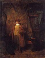 hendricus johannes scheeres, rembrandt in het atelier, 1860, paneel 18,2 x 14,5