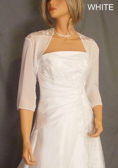df6deaf55dc1a4 Chiffon and lace bolero jacket 3 4 sleeve shrug wedding bridal Chiffon  Bolero