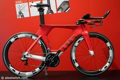 The new paint scheme of the Cervelo P5 appears race car themed.