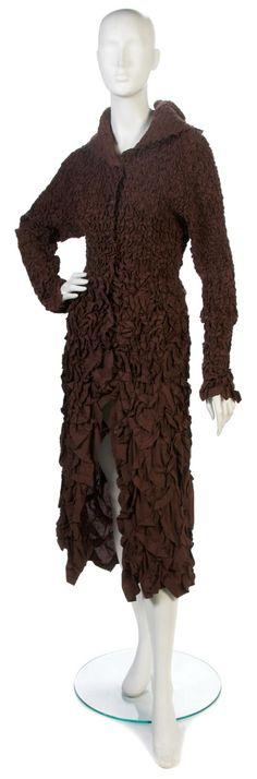 Issey Miyake pleated brown coat