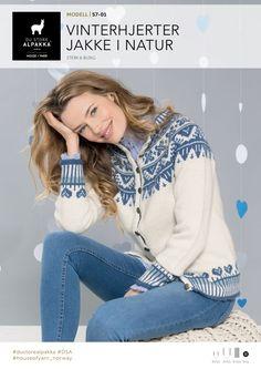 Vinterhjerter jakke i natur – Du Store Alpakka Lace Knitting, Turtle Neck, Graphic Sweatshirt, Sweaters, Cardigans, Pullover, Sweatshirts, Fair Isles, Knitting Machine