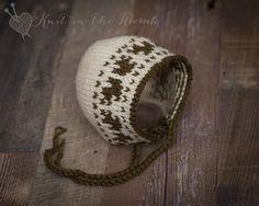 Oak Bonnet - Newborn - READY TO SHIP  - hat - photo prop - newborn by knitinthewomb on Etsy