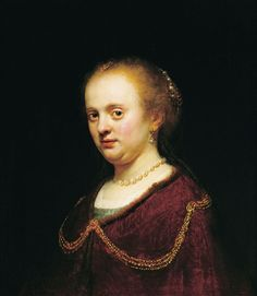 """""""Retrato de mujer joven"""", 1634. Museo Nacional de Bellas Artes, Argentina. Catalogada como del """"Círculo de Rembrandt"""" en 1994. Se cree producida por un alumno del taller de Rembrandt –posiblemente Flinck–, y tal vez por el mismo maestro. Por ello estimamos prudente mantenerla como obra de Rembrandt y su taller."""