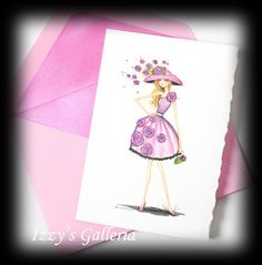 Papyrus Bella Pilar Pink Floral Fashion Girl Note Card Lined Envelope | eBay