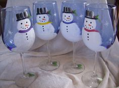Wine Glasses Snowmen handpainted by simplethingsbykathy on Etsy, $33.00