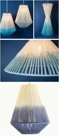 Statement lighting solutions: This Dip-dye Strand Lighting from Janie Knitted Textiles is all you'll need to light up a room. Challenging the conventional use of wool, each lamp is individually handmade using 100 per cent British Cheviot wool and dip-dyed using cold water dyes to create an ombre effect. It makes the perfect finishing touch to a bedroom or spare room. Find out more at housebeautiful.co.uk